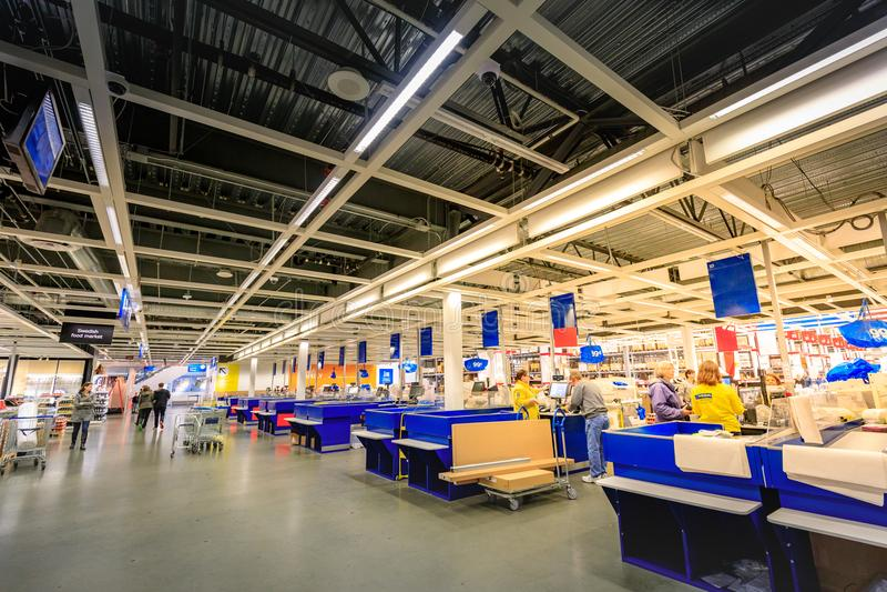 Interior of large IKEA Portland Home Furnishings store. Portland, Oregon, United States - Dec 20, 2017 : Interior of large IKEA store with a wide range of stock photography