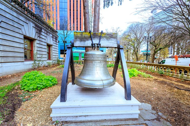 Liberty Bell at Portland city hall garden. Portland, Oregon, United States - Dec 19, 2017 : Liberty Bell at Portland city hall garden stock image