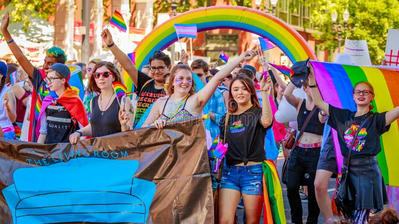 Portland Pride Parade 2018. Portland, Oregon, USA - June 17, 2018: Portland's 2018 Pride Parade reflects the community diversity stock images