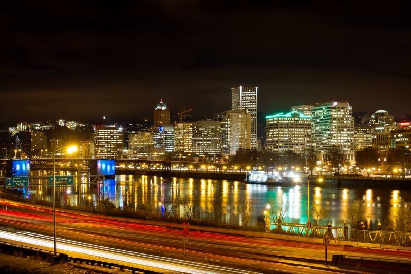 Portland Oregon Waterfront Skyline at Night. Portland Oregon Waterfront Skyline along Willamette River at Night stock photos