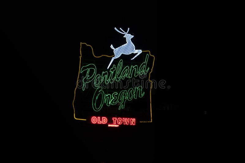 Portland, Oregon white stag sign stock photography