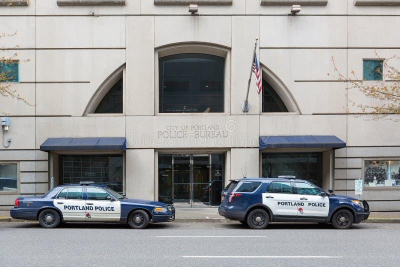 Portland Police Bureau in Downtown Portland. PORTLAND, OREGON - APRIL 9, 2017: City of Portland Police Bureau Sports Utility Vehicle SUV and patrol cruiser car royalty free stock photos