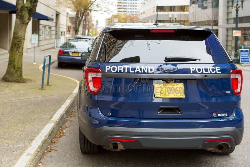 Portland Police Sports Utility Vehicle Back. PORTLAND, OREGON - APRIL 9, 2017: City of Portland Police Bureau Sports Utility Vehicles SUV parked outside city royalty free stock photography
