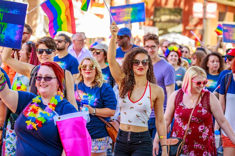 Portland Pride Parade 2018. Portland, Oregon, USA - June 17, 2018: Portland's 2018 Pride Parade reflects the community diversity stock photography