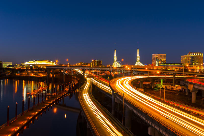 Portland Roads at Night. A nice view on Portland west side opens from Burnside Bridge stock images