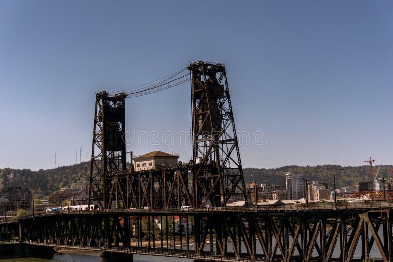 Portland's Steel Bridge stock image
