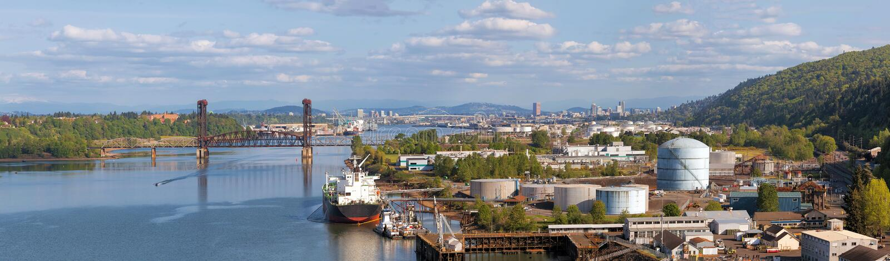 Portland Shipyard Along Willamette River Panorama royalty free stock photo