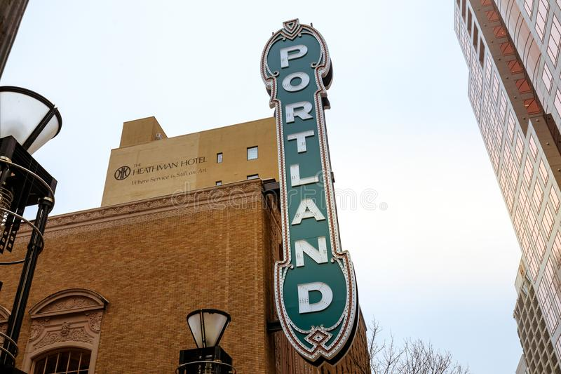 The Portland sign on the Arlene Schnitzer Concert Hall in Oregon. Portland, Oregon, United States - Dec 22, 2017 : The Portland sign on the Arlene Schnitzer stock photos