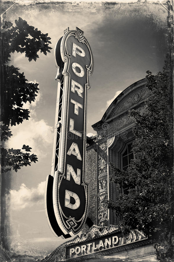 Portland sign on a building in downtown Portland, Oregon. vintage photo royalty free stock photos