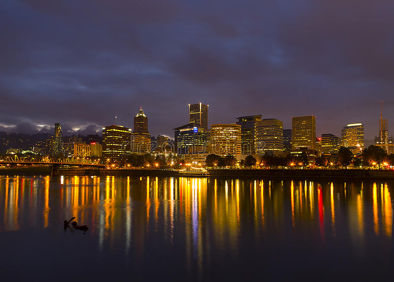 Portland Skyline. Beautiful view on Portland opens from the bank of Willamette river royalty free stock photography