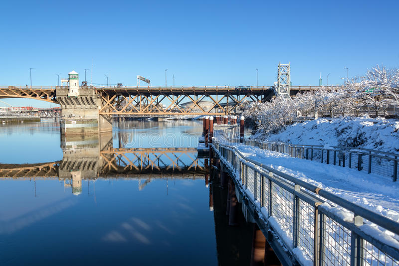 Portland and Snow stock image