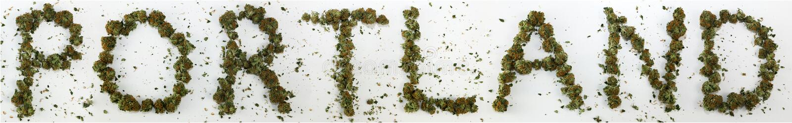 Portland Spelled With Marijuana. The word Portland spelled out with real marijuana stock images