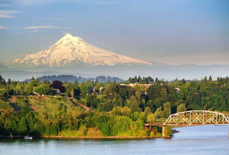 Portland stålbro och Mt-huven royaltyfri bild