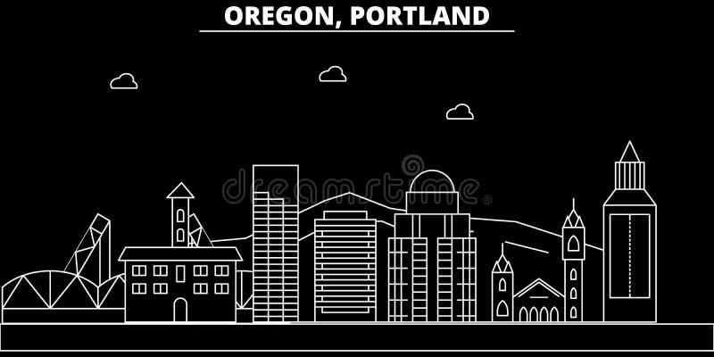 Portland-Stadtschattenbildskyline USA - Portland-Stadtvektorstadt, amerikanische lineare Architektur, Gebäude portland lizenzfreie abbildung
