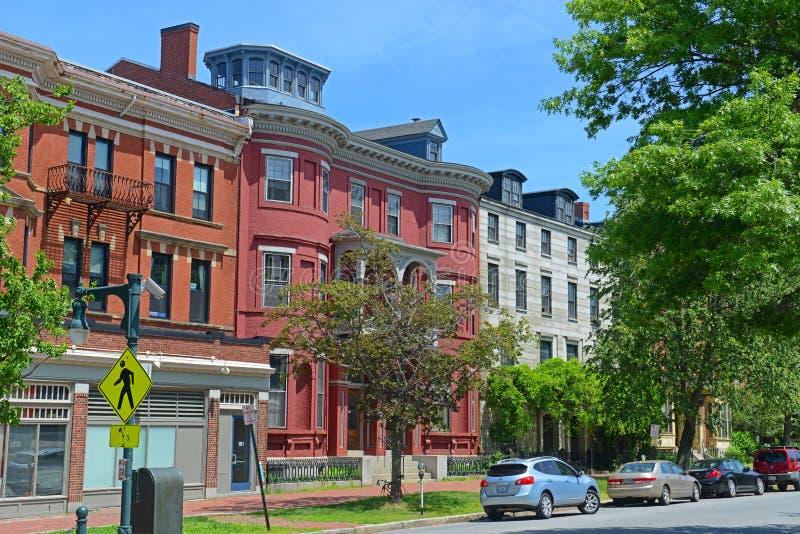 Portland State Street, Maine, EUA imagem de stock royalty free
