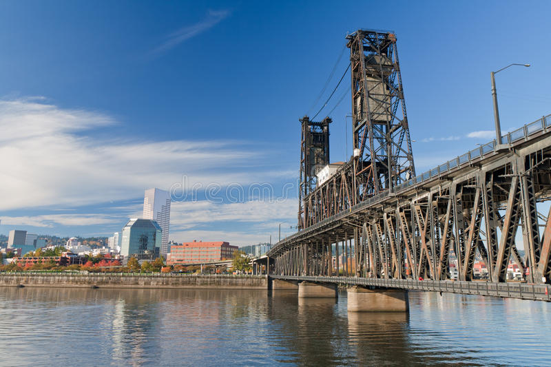 Portland steel bridge and Downtown royalty free stock image