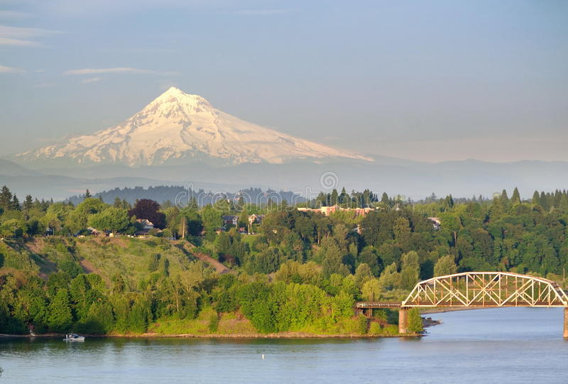 Portland Steel Bridge and the Mt hood royalty free stock image