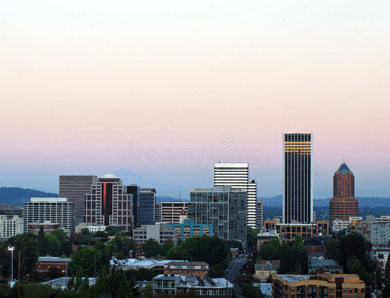 Portland Sunset. The skyline of Portland, Oregon at sunset royalty free stock photos