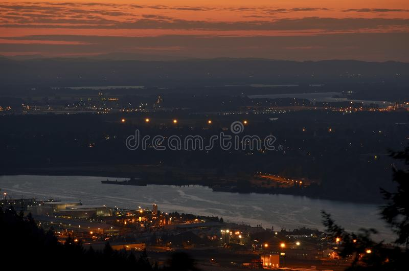 Portland Sunset Industrial. Area. Portland Oregon, USA. American Cities Photo Collection stock photo