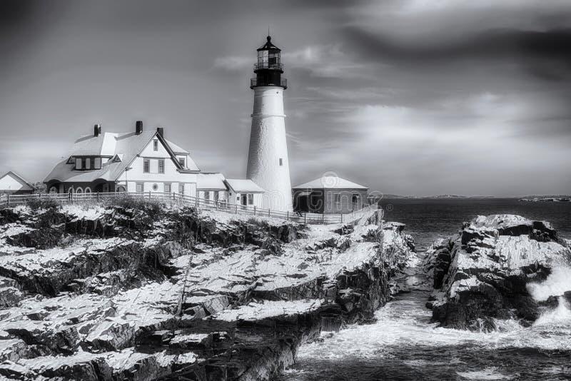 Portland svartvita Maine Headlight Winter Scene arkivfoto
