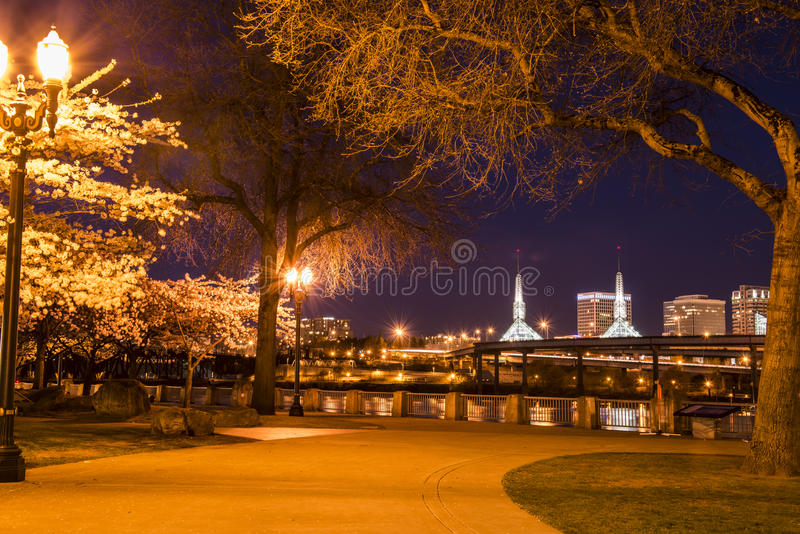 Portland-Ufergegend nachts lizenzfreie stockfotografie