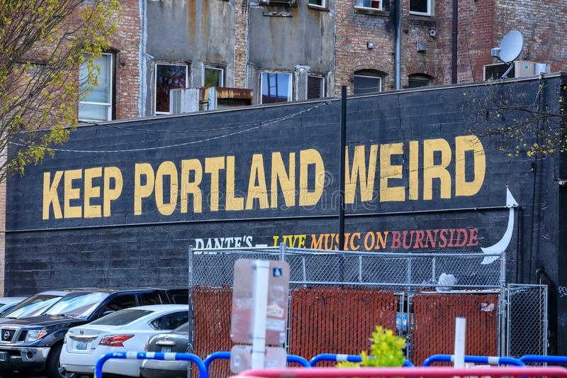 Keep Porltland Weird sign at a well known record store in downtown PDX. stock image