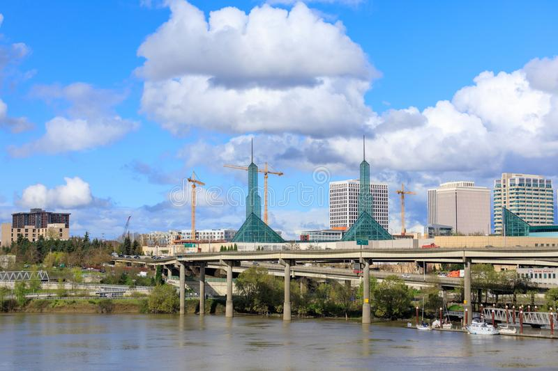 Scenery of Portland downtown with Oregon Convention Center. Portland, United States - Apr 10, 2018 : Oregon Convention Center, that is located on the east side royalty free stock photos