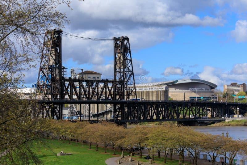 Scenery of Portland downtown in spring season. Portland, United States - Apr 10, 2018 : Scenery of Portland downtown with Steel bridge across Willamette river royalty free stock image