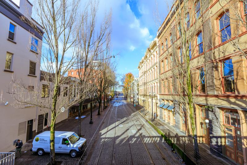 Road view NW 1st Ave near Willamette river in downtown Portland stock photos
