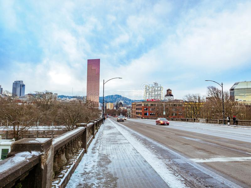 Road view on Burnside Bridge in downtown Portland stock photo