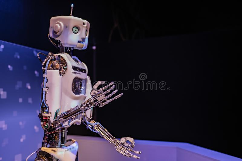 Mechanized robot at the entrance of OMSI royalty free stock images