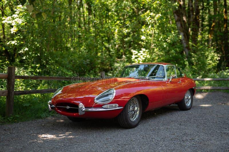 Red vintage type-e Jaguar royalty free stock image