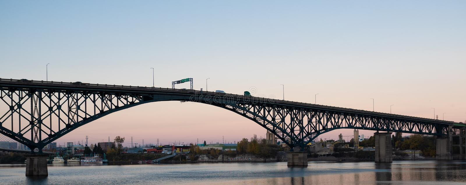 Ross Island bridge in the evening royalty free stock images
