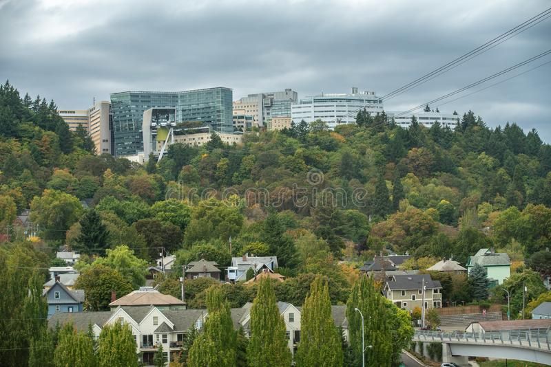 Oregon health and science university OHSU campus on the hill. Portland, OR / USA - October 1 2018: Oregon health and science university OHSU campus on the stock photography