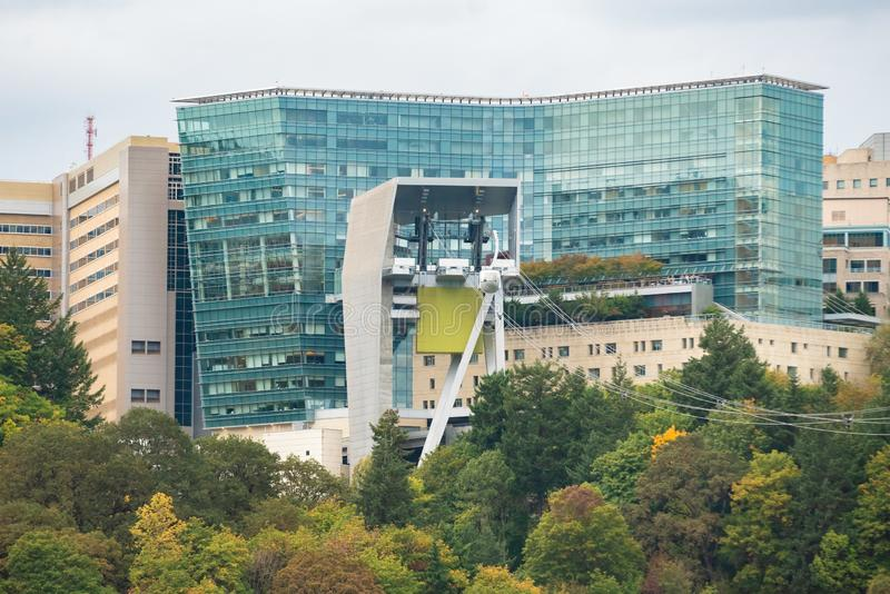 Oregon health and science university OHSU campus. Portland, OR / USA - October 1 2018: Oregon health and science university OHSU campus on the Marquam hill with royalty free stock photo