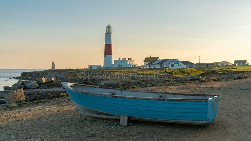 Portlandzka Bill latarnia morska, Jurajski wybrzeże, Dorset, UK zdjęcie stock