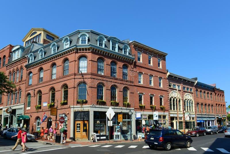 Portlandzka pierwszy plan ulica przy Starym portem, Maine, usa fotografia royalty free