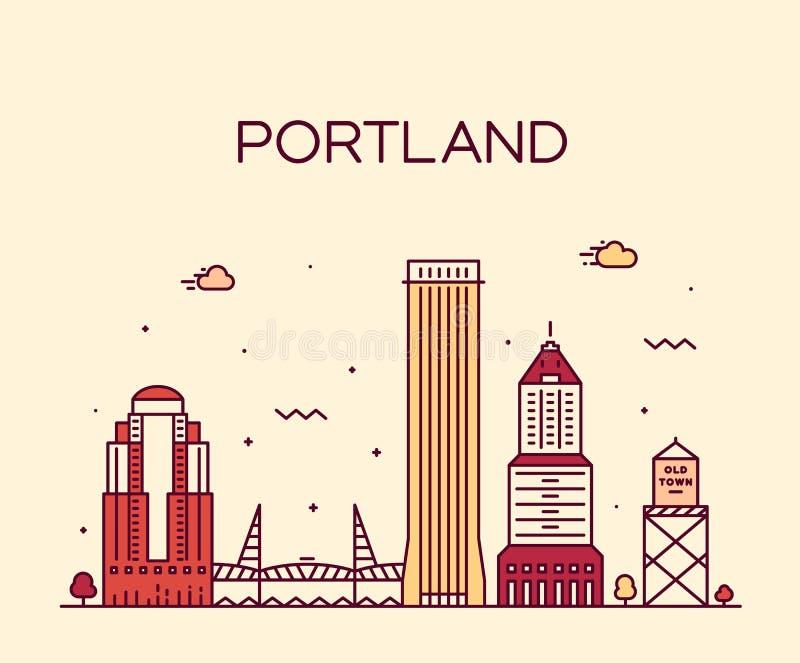 Portlandzkiego Oregon usa sztuki stylu wektorowy liniowy miasto ilustracji