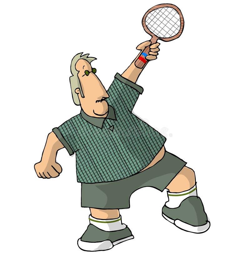 Portly Tennis-Spieler vektor abbildung