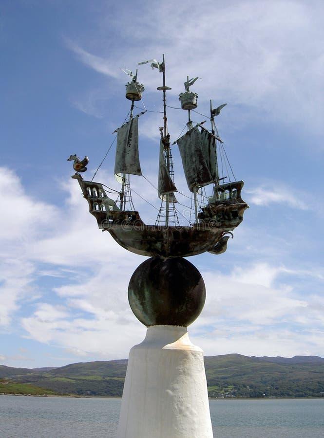 Portmeirion skulpturkaj norr Wales royaltyfri bild