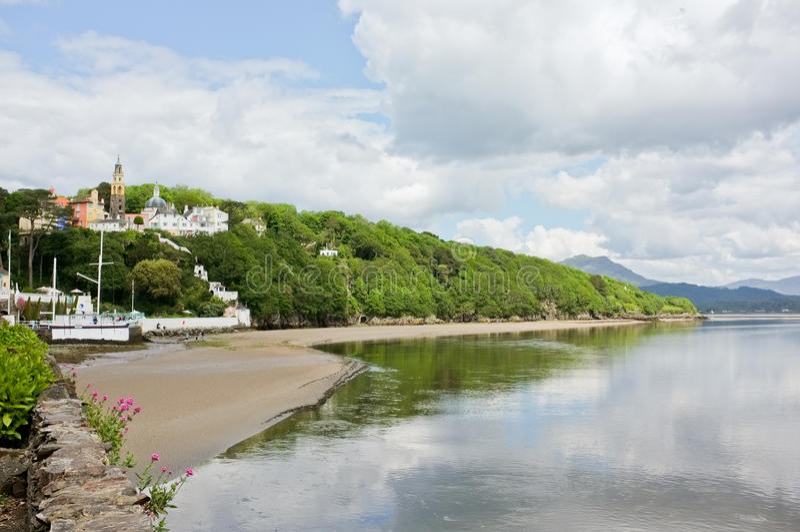 Portmeirion Welsh Village Beach Landscape, Wales stock image