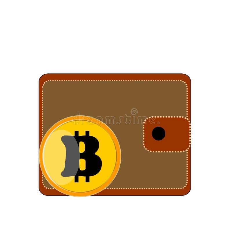 Portmouth del monedero de Brown en el fondo blanco con el bitcoin de la moneda ilustración del vector