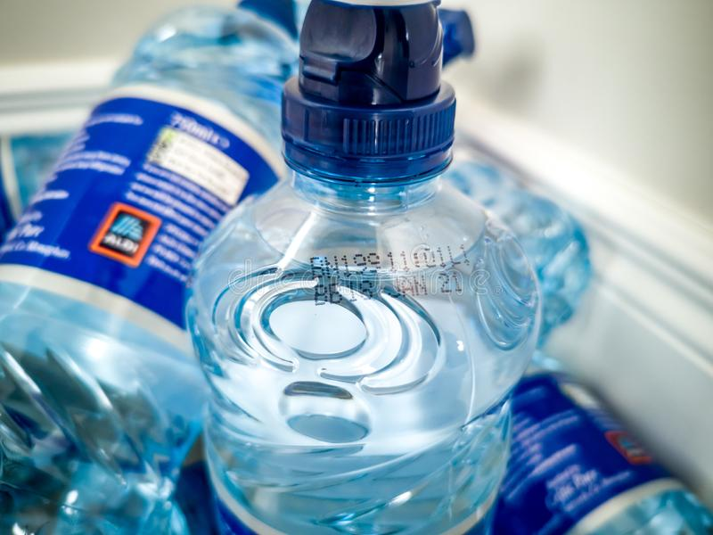 This batch number is part of the second recall by the FSAI for bottled water due to above normal arsenic levels. PORTNOO, COUNTY DONEGAL , IRELAND - AUGUST 03 royalty free stock photography
