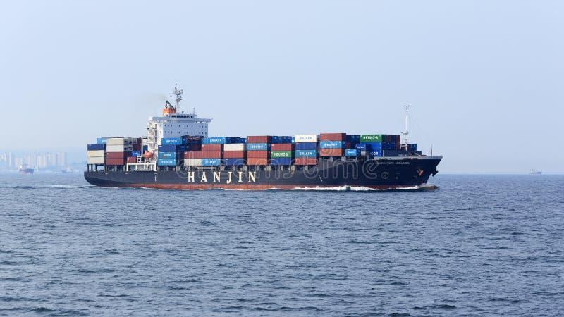 PORTO ADELAIDE della nave HANJIN immagine stock libera da diritti