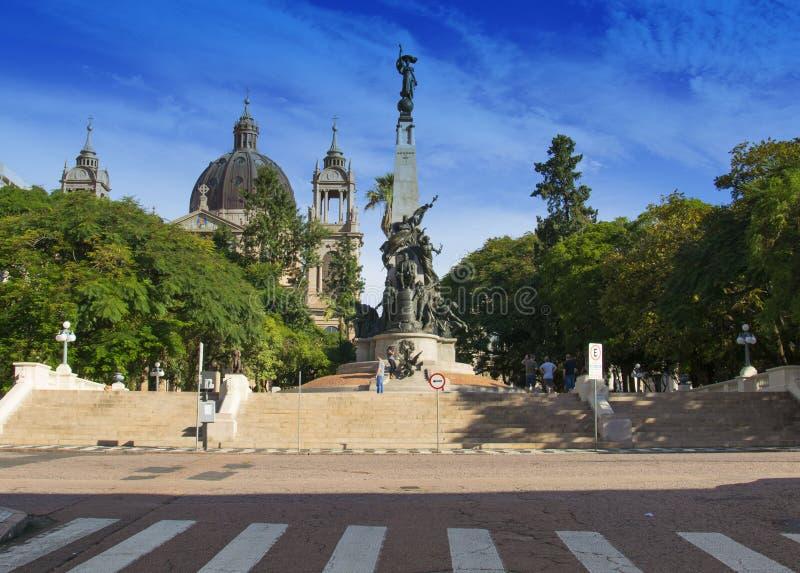 Porto Alegre, Brazi: Júlio DE Castilhos Monument aan het centrum van Matriz Vierkante Praça DA Matriz, Porto Alegre, royalty-vrije stock afbeeldingen