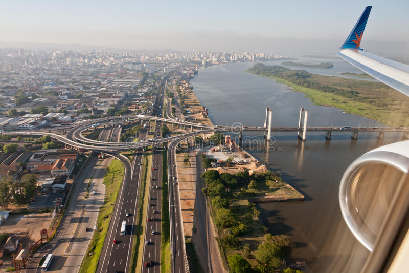 Porto Alegre Bridge and Guaiba River stock photo
