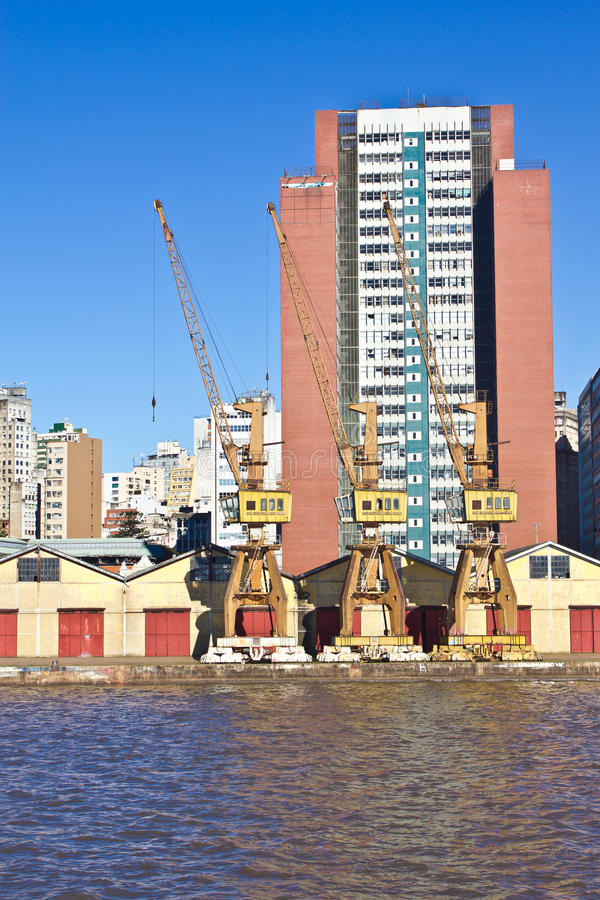 Porto Alegre Port - Rio Grande do Sul - Brazil. Details of Porto Alegre Port. Porto Alegre city. Rio Grande do Sul. South of Brazil stock photo