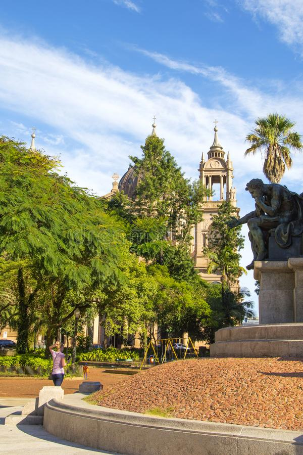 Porto Alegre Rio Grande do Sul, Brasilien: Storstads- domkyrka av vår dam Mother av guden arkivfoton