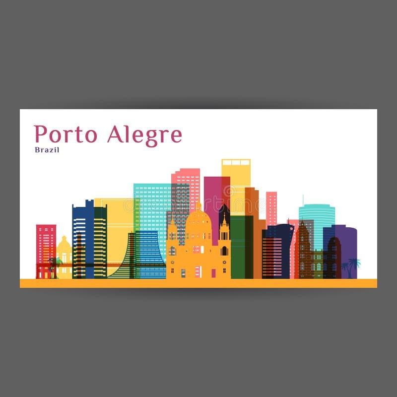 Porto Alegre-Stadtarchitekturschattenbild stock abbildung