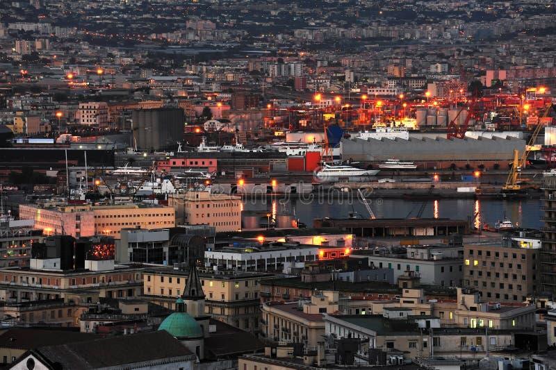 Porto alla notte, Napoli, Italia fotografia stock libera da diritti